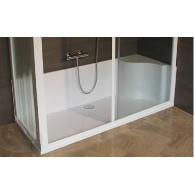 Kit cabina piatto doccia vetro temprato 170x70cm - Seduta vasca da bagno ...