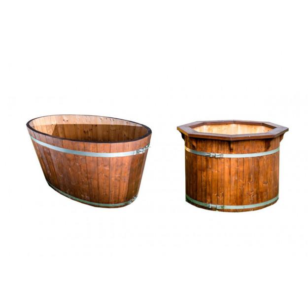 Vasca per esterno tinozza in legno abete ovale rotonda for Tinozze da giardino