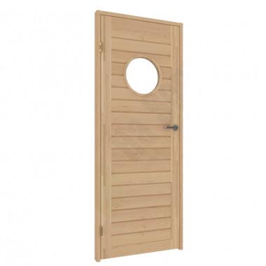 Porte in vetro e legno per sauna: porta con oblò