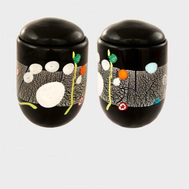 Urna vaso in vetro di murano per animali nera
