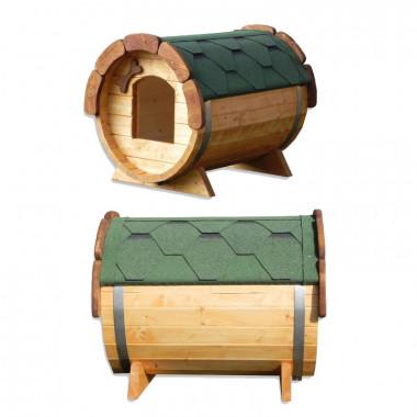 Cuccia da esterno in legno di alta qualità per cani a forma di botte