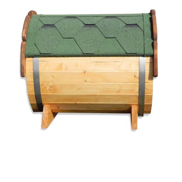 Cuccia da esterno in legno di alta qualità visione lato