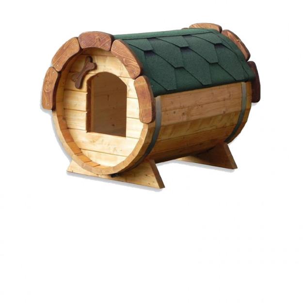 Cuccia da esterno in legno di alta qualità per cani visione fronte