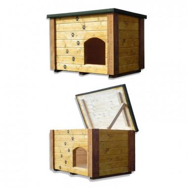 Cuccia da esterno in legno di alta qualità per cani con tetto apribile