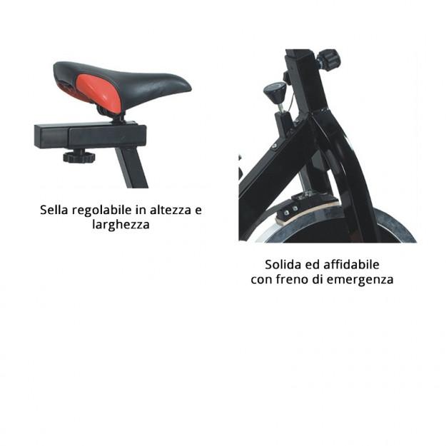 Forza di pedalata regolabile e sella regolabile