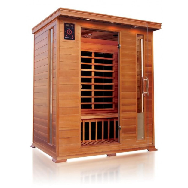 Sauna ad infrarossi a pannelli di carbonio per 3 persone con cromoterapia