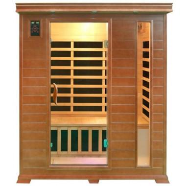 Vista frontale sauna ad infrarossi per 3 persone con cromoterapia