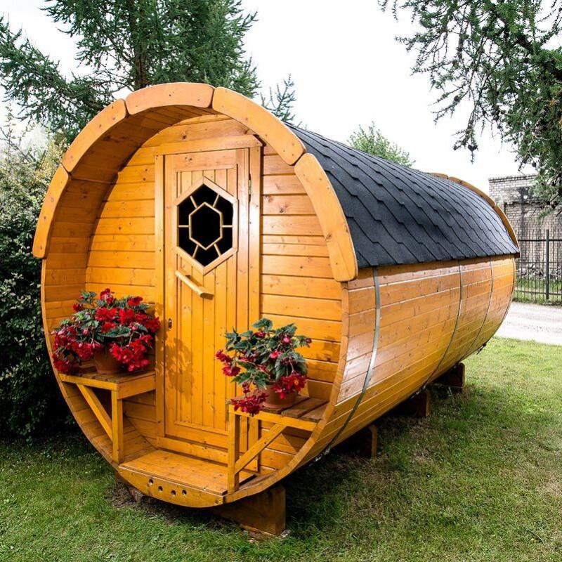 Gazebo in legno da giardino campeggio a botte 4x2 4m for Modello di casa bungalow
