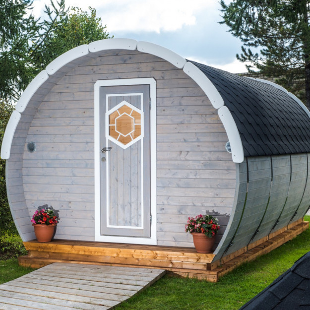 Gazebo in legno casetta da giardino bungalow 4 8x3m modello ice - Gazebo da terrazzo ...