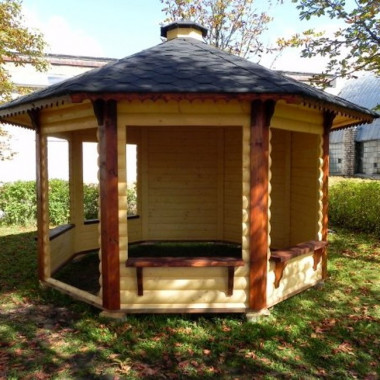 Gazebo in legno chiosco bar da giardino da 9,9 mq