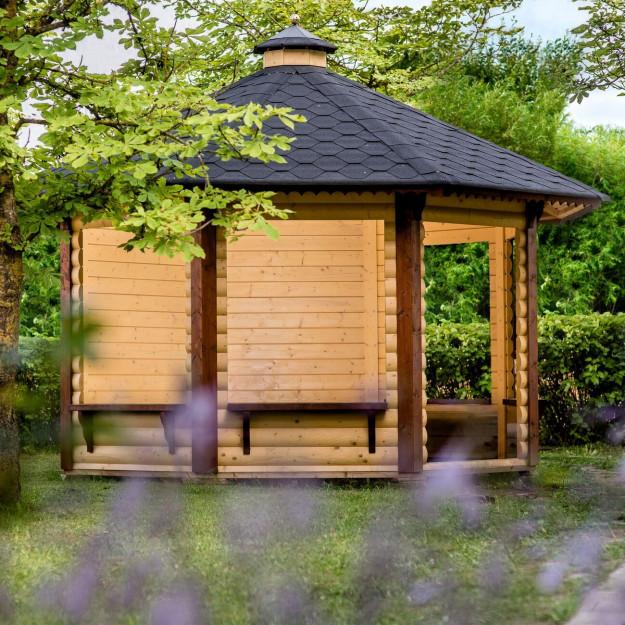 Gazebo in legno chiosco bar da giardino da 9 9 mq for Giardino 15 mq