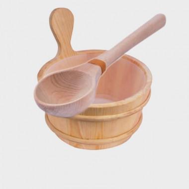 secchiello e mestolo per sauna