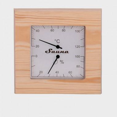 Termoigrometro in legno di pino per sauna
