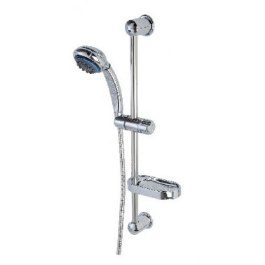 Saliscendi con soffione doccia e 8 funzioni anticalcare con portasapone