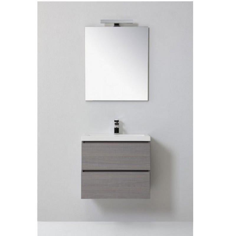 Set per bagno manny a due cassetti lavabo specchio bianco o grigio - Mobile cassetti bagno ...