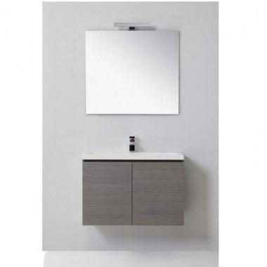 Mobile bagno MANNY in rovere con ante, color bianco foresta o grigio argilla 80 CM