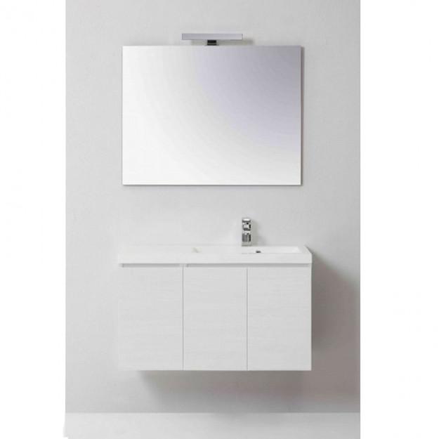 Mobile bagno MANNY in rovere color bianco foresta 90 CM DESTRO CON ANTE, SPECCHIO LISCIO