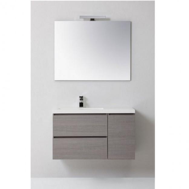 Mobile bagno MANNY in rovere, con anta e cassetti,  grigio argilla 90 CM SINISTRO