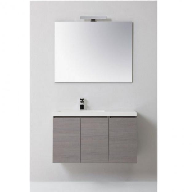 Mobile bagno manny in rovere con ante e cassetti bianco - Bagno bianco e grigio ...
