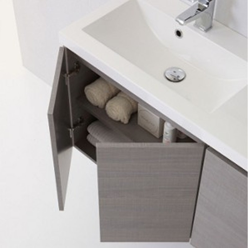 Mobile bagno manny in rovere con ante e cassetti bianco - Mobile bagno profondita 30 cm ...