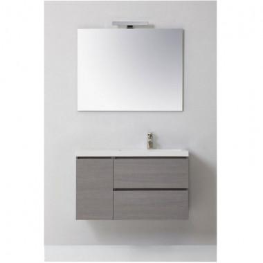 Mobile bagno MANNY in rovere, grigio argilla, 90 CM DESTRO CON ANTE E CASSETTI