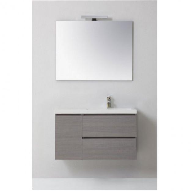 Mobile bagno MANNY in rovere, ante e cassetti, bianco o grigio, 90 cm