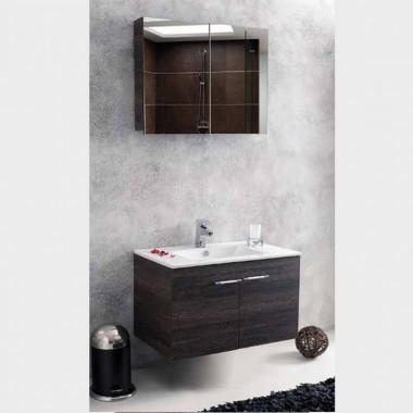 Set mobile bagno BITOLA in rovere o wenge, con ante, 80cm