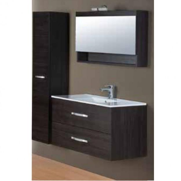 Set mobile bagno con lavabo e specchio con aplique e colonna sul lato.