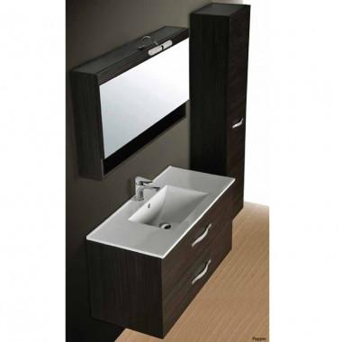 Set mobile bagno LUSSO nero, con cassetti e specchio, larghezza 110cm