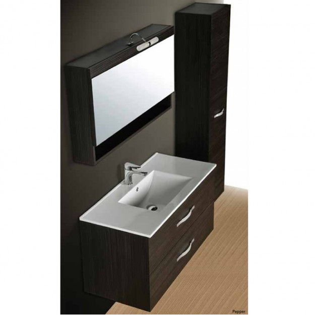 Composizione per bagno con cassetti lavabo e specchio miglior prezzo - Mobile bagno contemporaneo ...