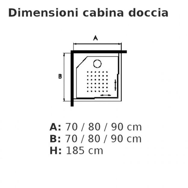 Chiusura doccia quadrata o rettangolare in vetro temprato con anta scorrevole  70 cm - 70 cm ...