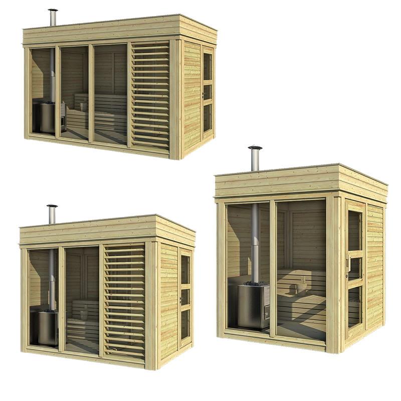 Excellent sauna cube finlandese da esterno fino a persone for Costo della costruzione di una sauna domestica