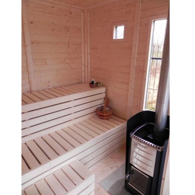 Sauna finlandese da esterno fino a 10 persone in abete 4x2 for Ospitare amici in casa