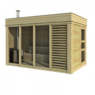 Sauna finlandese da esterno 4x2 m. con spogliatoio