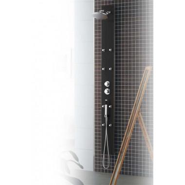 Pannello doccia in alluminio e vetro 200 x 18cm in vetro nero metallizzato