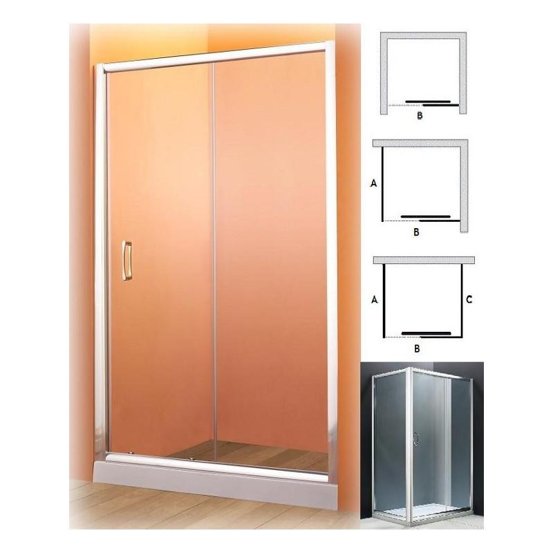 Parete doccia nicchia anta scorrevole in vetro 90 100 110 cm offerta - Vetro doccia scorrevole ...