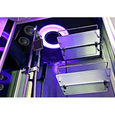 Ampio soffione centrale con luce cromoterapica