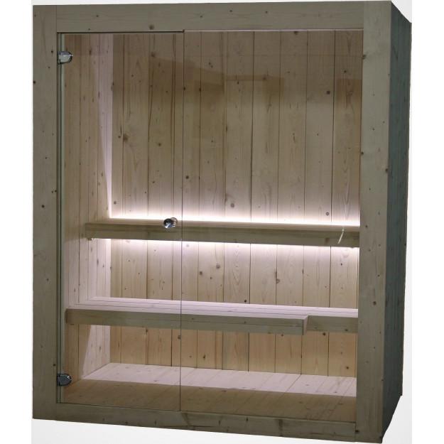 Sauna finlandese in abete nordico con parete in vetro
