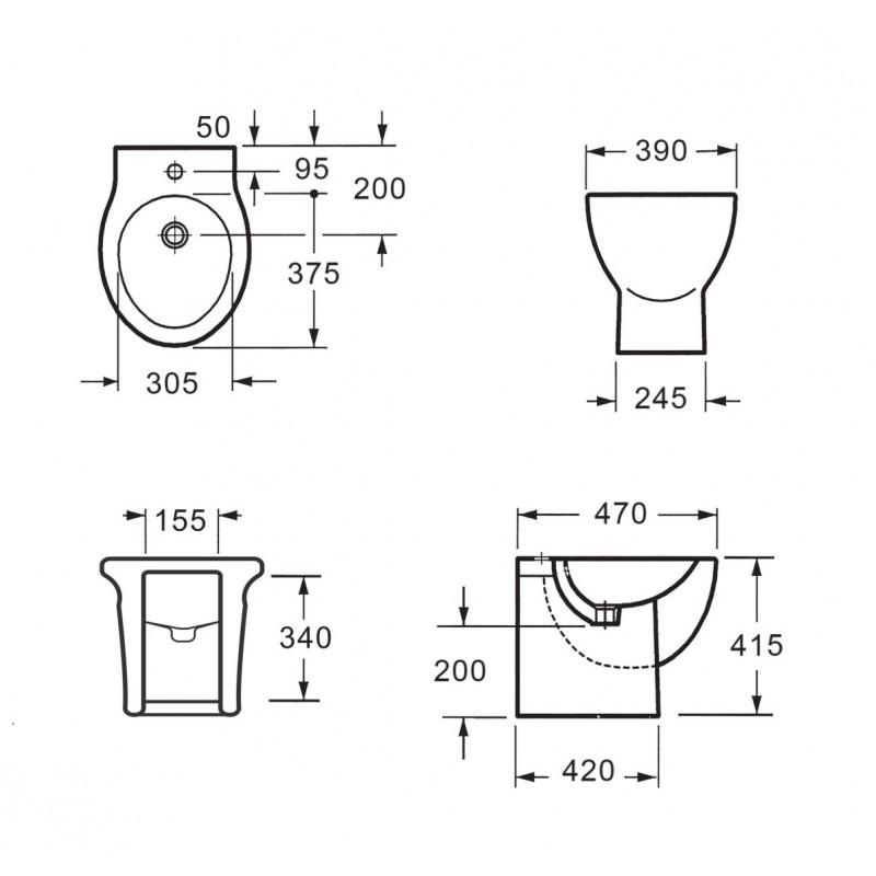 Coppia di sanitari vaso wc e bidet da appoggio a terra - Misure scarichi bagno ...