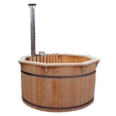 Vasca tinozza a botte in legno completa di stufa a legna