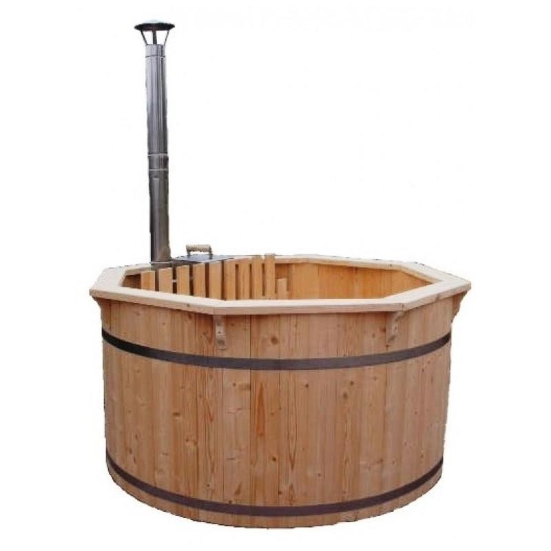 Vasca a tinozza a botte da esterno con stufa a legna for Botte di legno arredamento