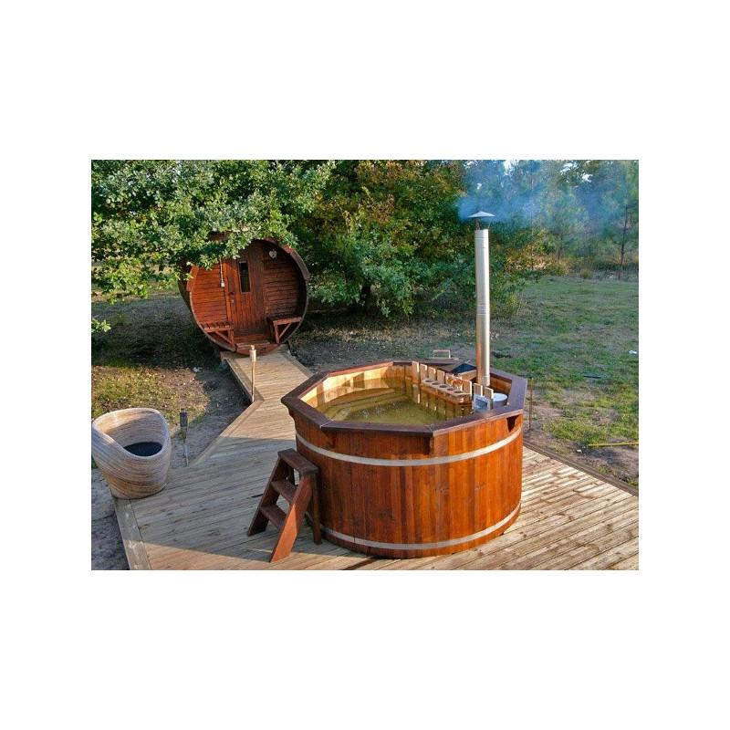 4090655ad877 Vasca tinozza a botte in legno completa di stufa a legna · Tinozza con stufa  funzionante ...