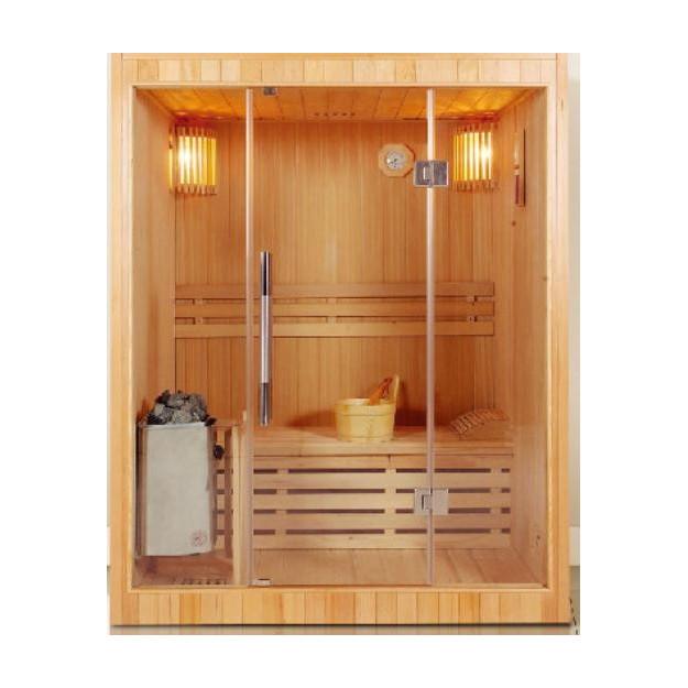 Sauna finlandese in hemlock canadese 120x150 cm con parete in vetro
