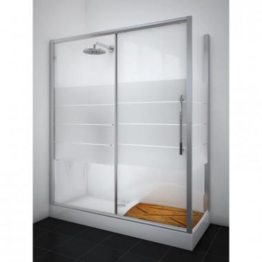 Kit Cabina in vetro temprato rimozione sostituzione vasca + piatto doccia in ABS 170 x 70 cm