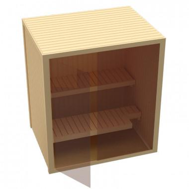 Sauna finlandese in abete nordico con parete in vetro 3 misure disponibili