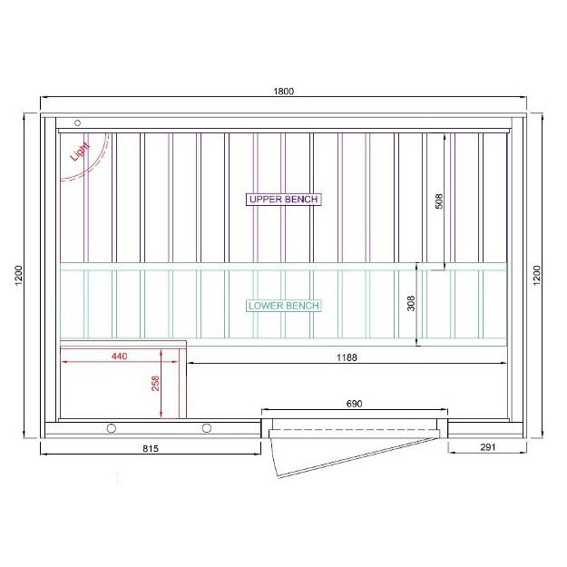 Disegno tecnico sauna finlandese 180x120cm