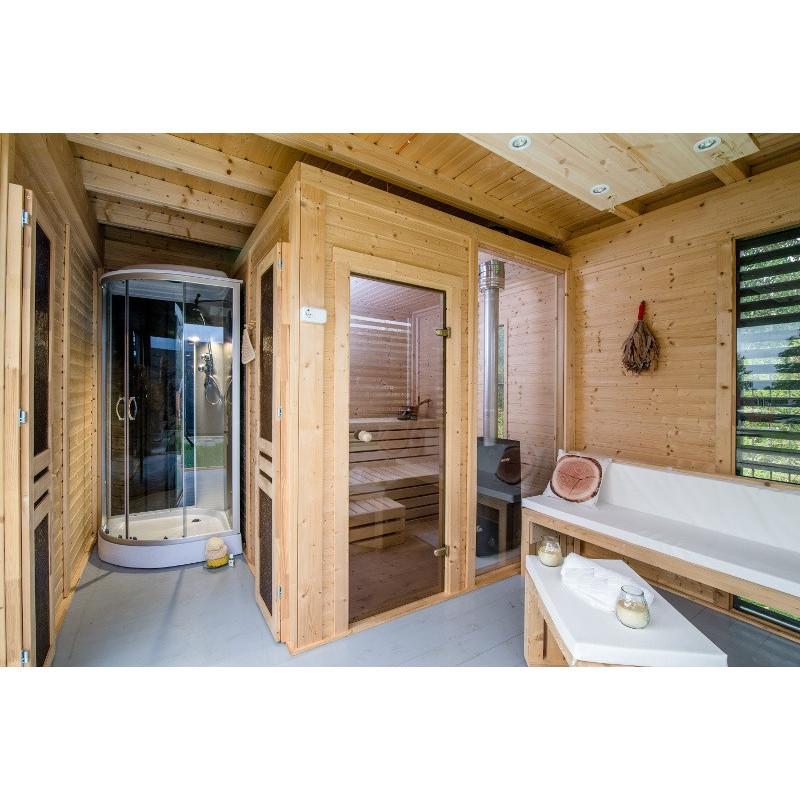 Gazebo centro benessere da esterno con sauna doccia in offerta - Sauna da esterno ...