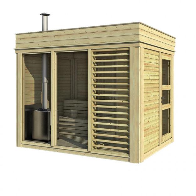 Sauna CUBE 3x2 m. con spogliatoio