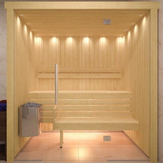 Sauna finlandese in hemlock canadese o betulla con parete in vetro