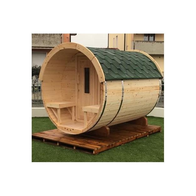 Sauna finlandese a botte da esterno diam 1.9m x 2.5m